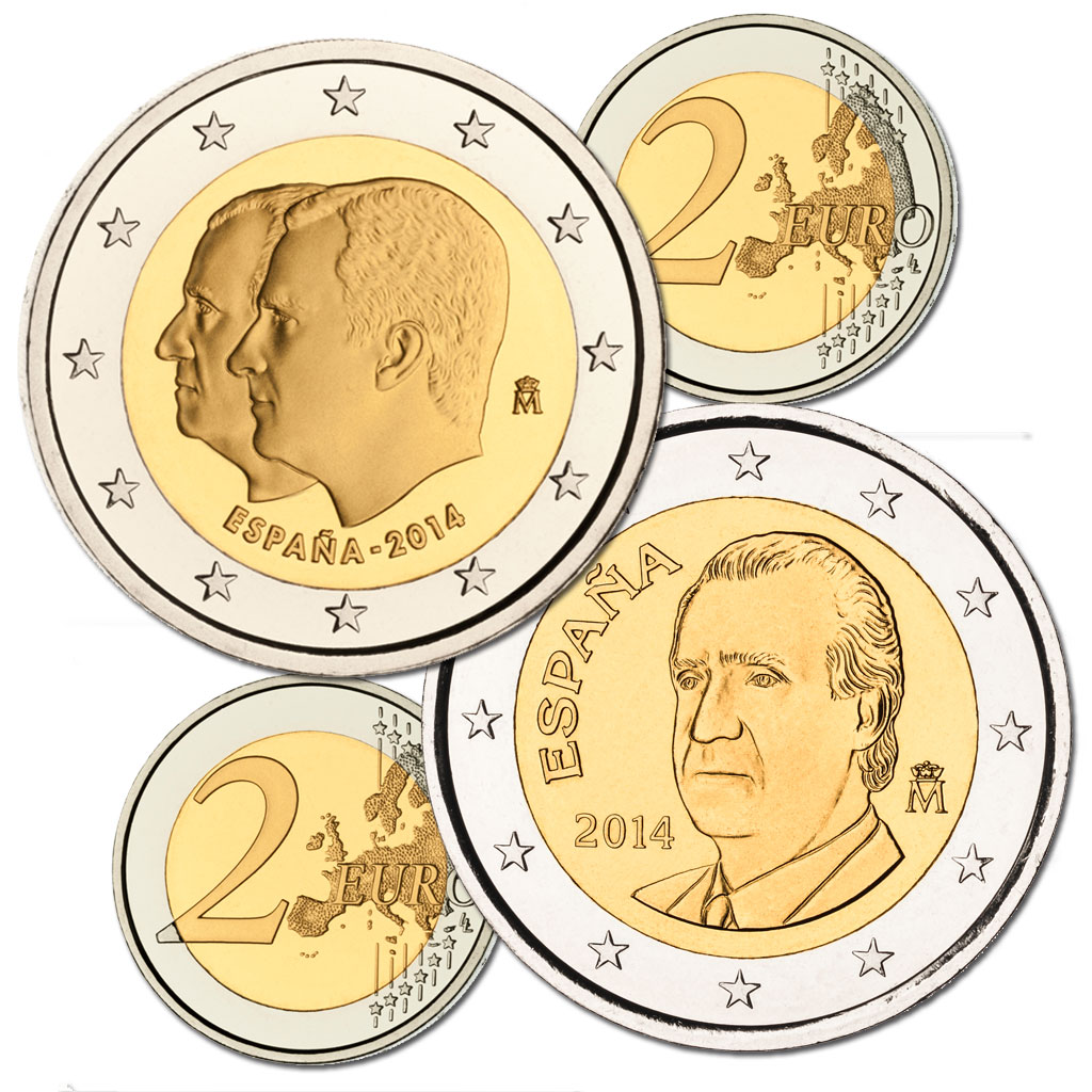 Two 2-euro coins. Click to see enlarged. Opens in new window.. Abre en ventana nueva