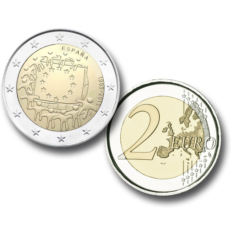 2 Euro Coin. Clic to see enlarged. Opens in new window. Abre en ventana nueva