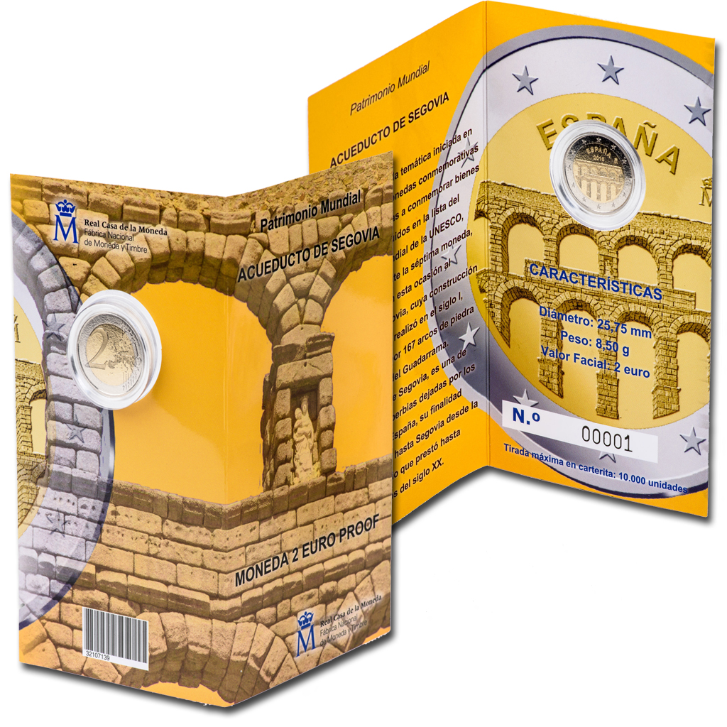 Currency case for the 2-euro proof coin. Click to see enlarged. Opens in new window. Abre en ventana nueva