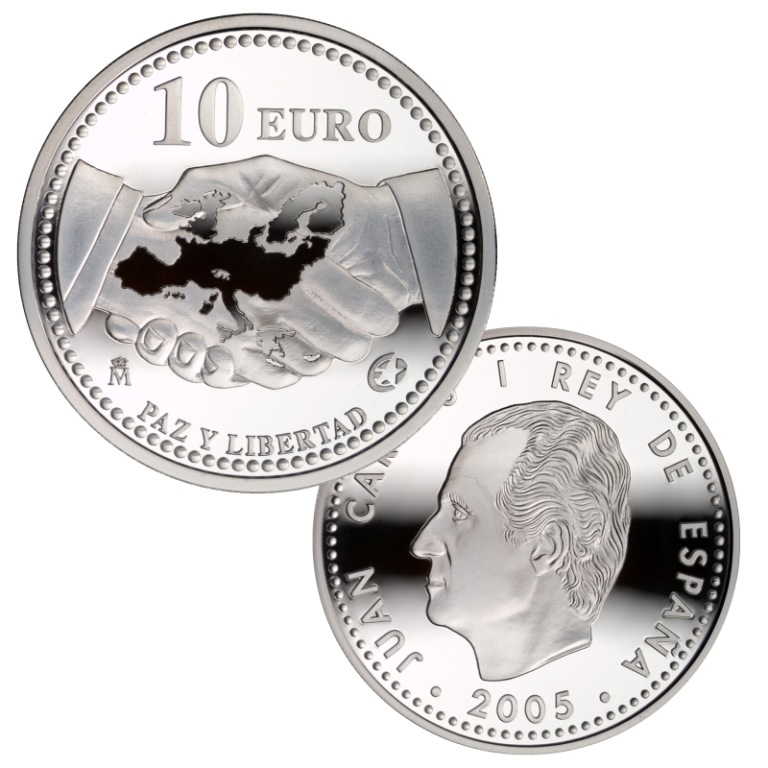 Obverse and reverse 8-reales silver. The Europa Program:Peace and Freedom. Abre en ventana nueva