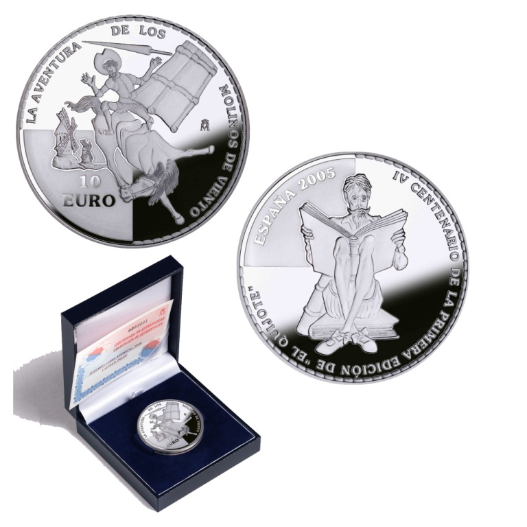 8-reales silver:Windmills. 4th Centenary of the publication of Don Quixote. Abre en ventana nueva