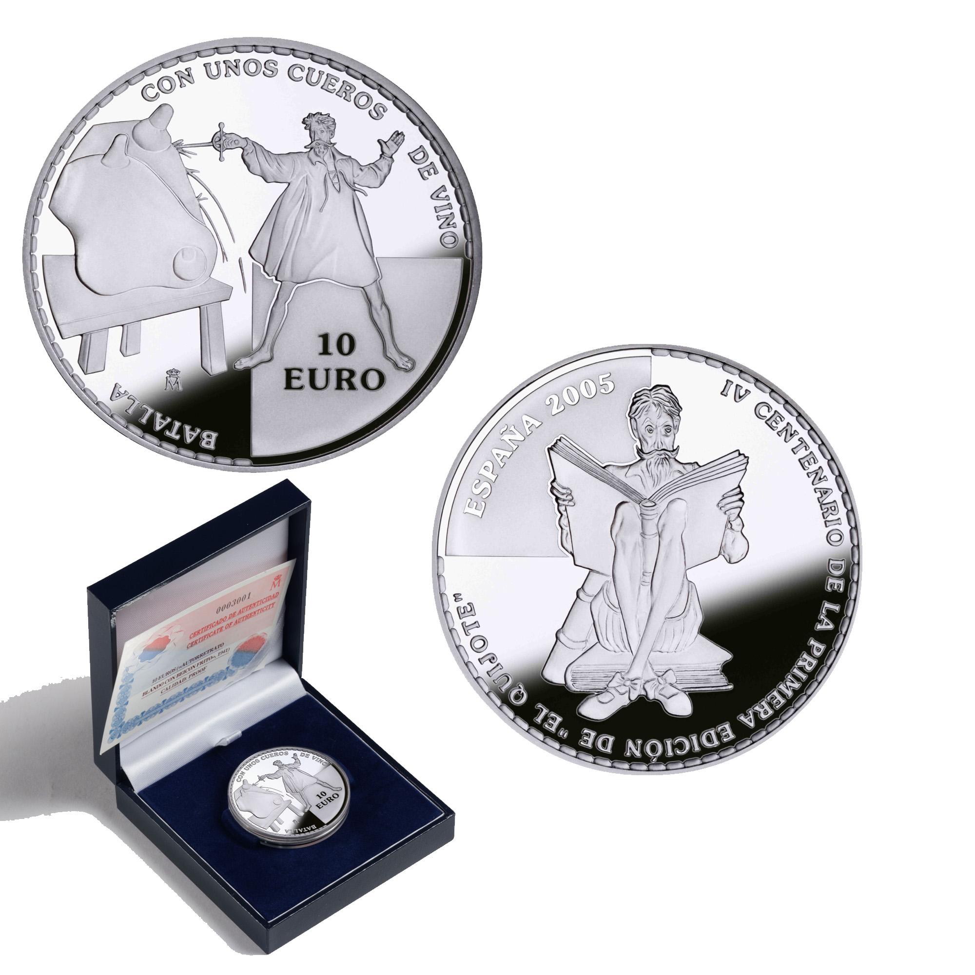 8 reales plata:Cueros de vino IV Centenario de la publicación de El Quijote. Abre en ventana nueva