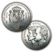 Obverse and reverse 12-Euro silver coin 25th Anniversary of the Spanish Constitution. Abre en ventana nueva